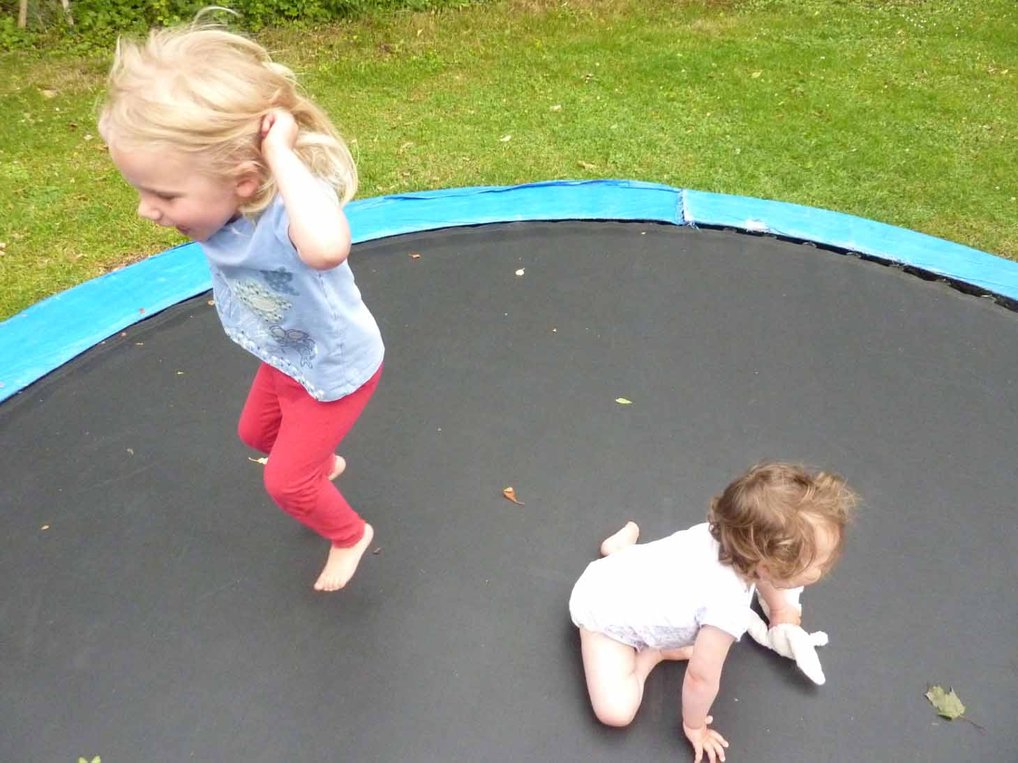 Harriett and Heidi on the trampoline lr